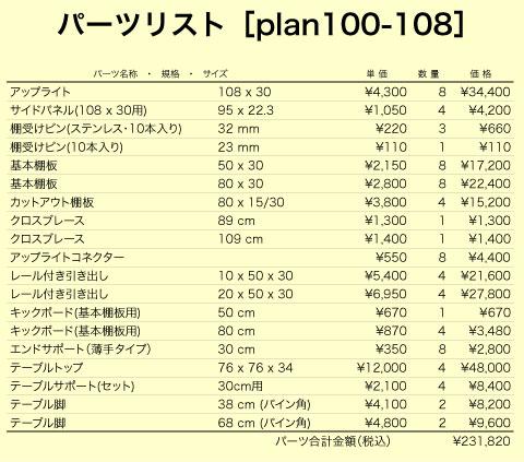 4人用デスクプランplan100-108(パーツリスト)