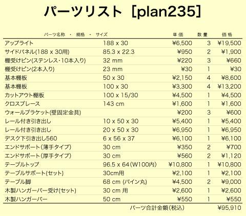 デスクプラン235パーツリスト